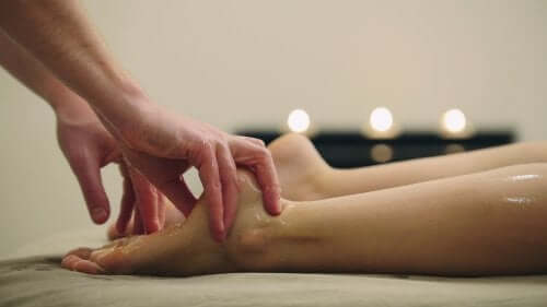 Erotic foot massage.