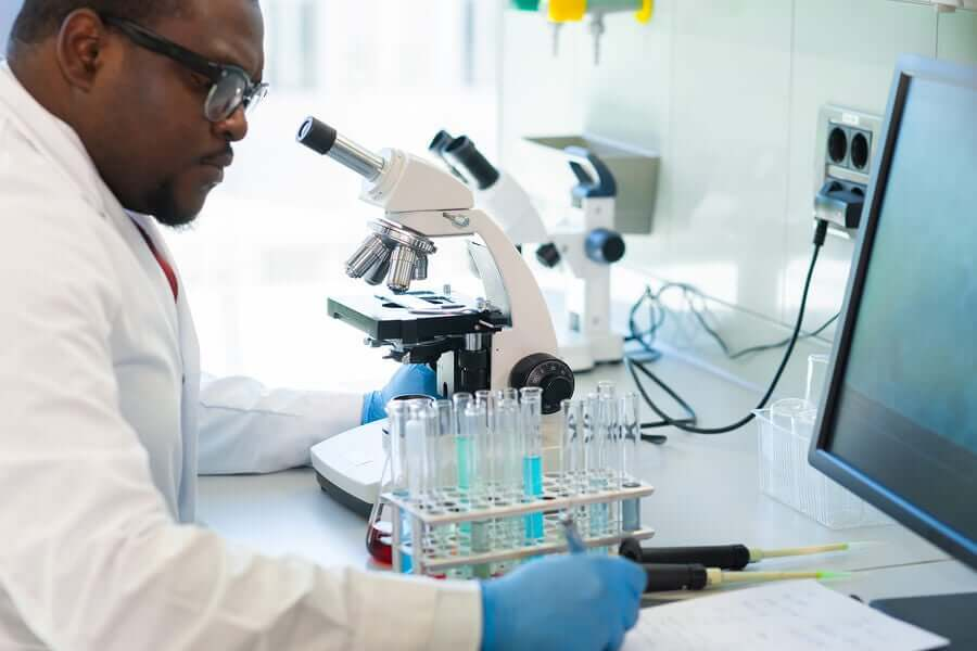 A scientist in a laboratory.