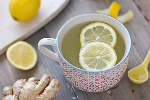 A lemon ginger fruit infused water