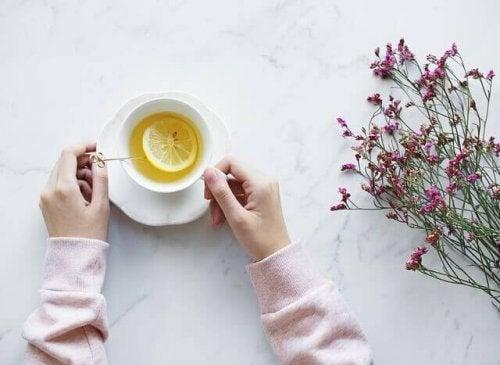 Relaxing lemon tea.