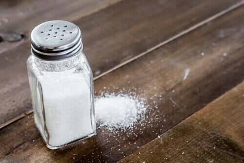 Salt in a shaker.