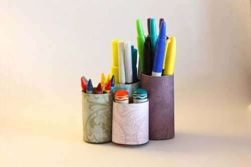 reusable materials like cans to make pencil holders