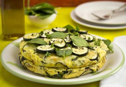 Vegan zucchini omelette on a plate.