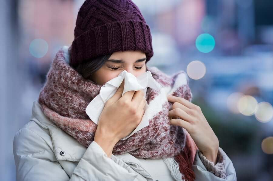 A woman with a cold.