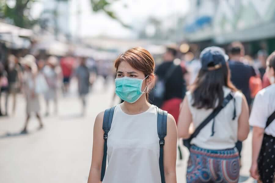 A woman wearing a mask during the COVID-19 pandemic.
