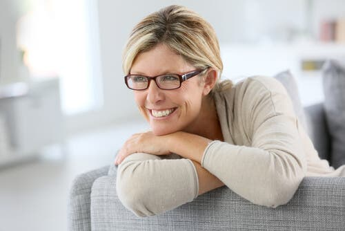 A seemingly happy woman.