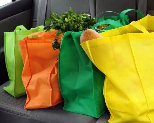 Multicolored cloth bags full of groceries to reduce plastic use.
