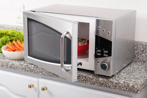 A stainless steel microwave.