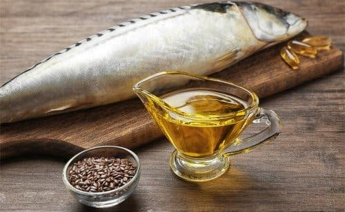 A few sources of omega-3 fatty acids, one of the recommended foods for cardiovascular health.