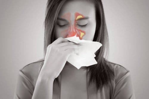 A woman with sinus pain.