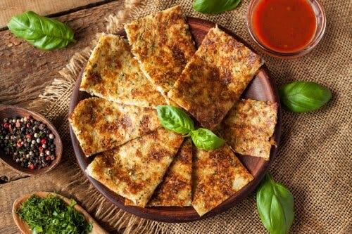 Cauliflower garlic bread.