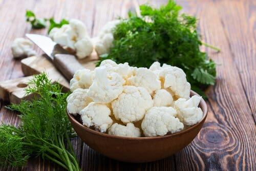 Cauliflower on a table.