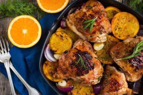 Chicken with orange and rosemary.