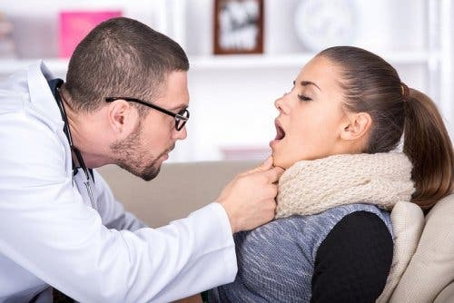 A doctor checking a patient with the flu.