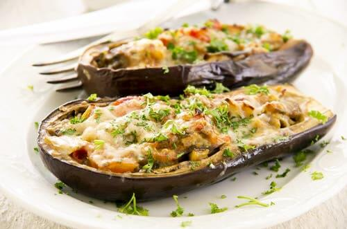 Eggplant filled with lentils.