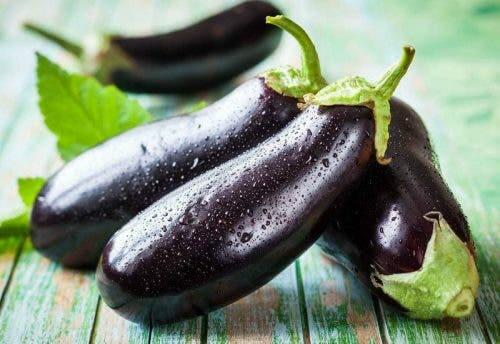 Eggplants with dew on them.