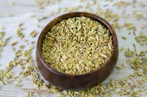 A bowl of fennel seeds.