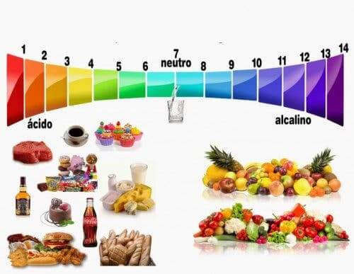 A scale of foods based on their pH, to the right are alkaline foods for the alkaline diet.