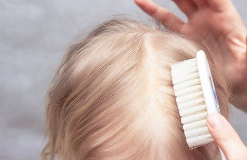 Brushing a child's hair for cradle cap.