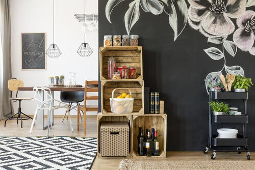 Boxes and carts to organize your kitchen.