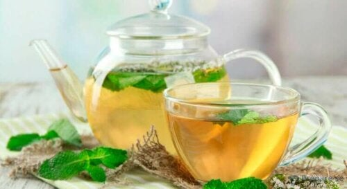 A pot and teacup of mint tea.