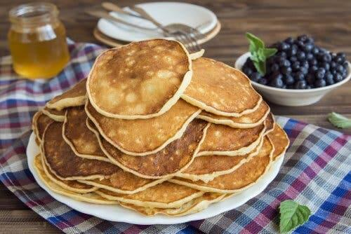 Protein pancakes on a plate.