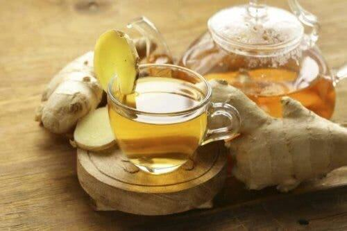 Ginger infusion reducing fever