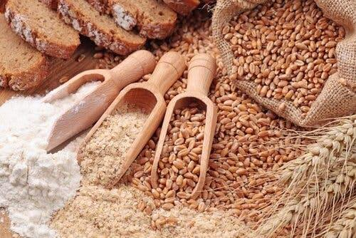 A variety of whole grains.