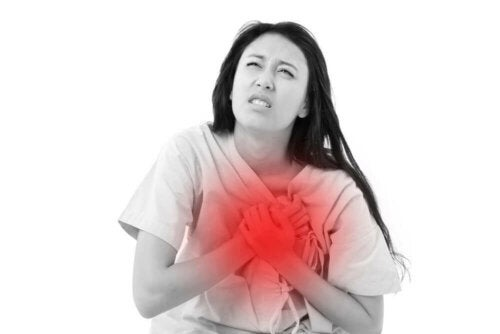 A woman with chest pain.