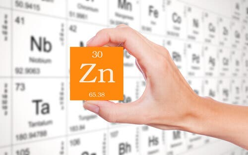 "Hand holding the zinc ""Zn"" square from the periodic table."