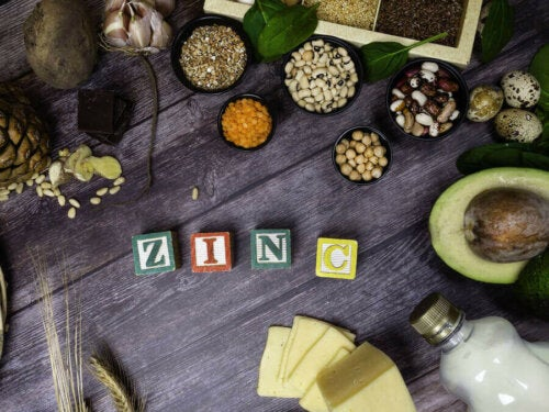 """Foods with zinc to boost your immune system around blocks that spell out """"zinc""""."""