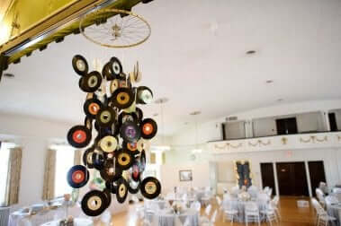 A mobile made out of small vinyl records.