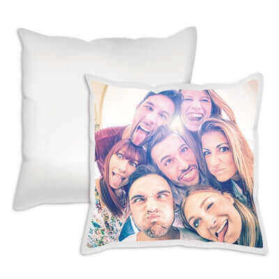 Pillow with personal photo on it for original decorations.
