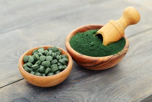 A bowl of spirulina. This is one of the natural remedies for pollen allergies