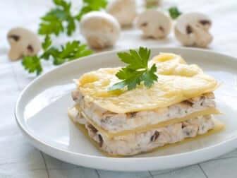Vegan lasagna with bechamel sauce and mushrooms.