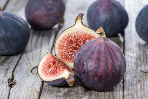 A few figs on a table.