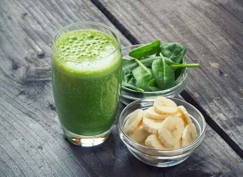 A spinach smoothie with banana.