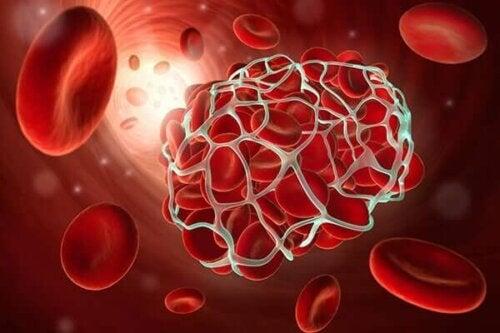 An illustration of blood platelets.