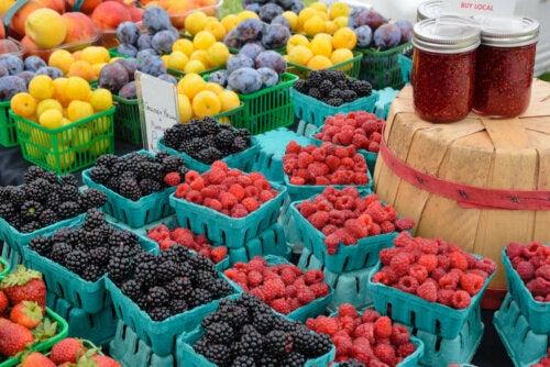 Fresh fruits at at local market.