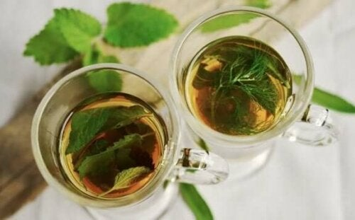 Two cups of mint tea.