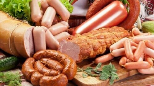 A variety of processed meats.