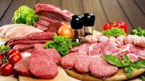 Assorted raw meats on cutting boards, how much meat is safe to eat?