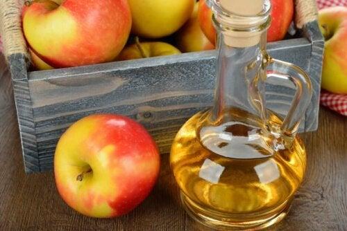 A bottle of apple juice.