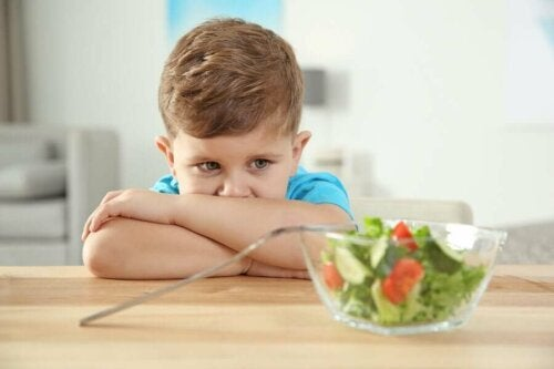An autistic child hating salad due to an eating disorder.