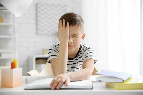 A child with a headache.