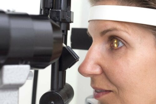 A person undergoing an eye test.