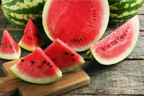 A watermelon cut into pieces.
