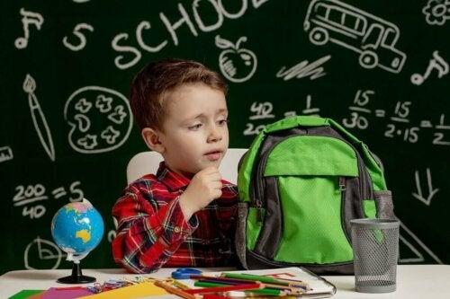 A dyslexic child at school.