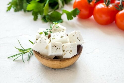Feta cheese cubes.