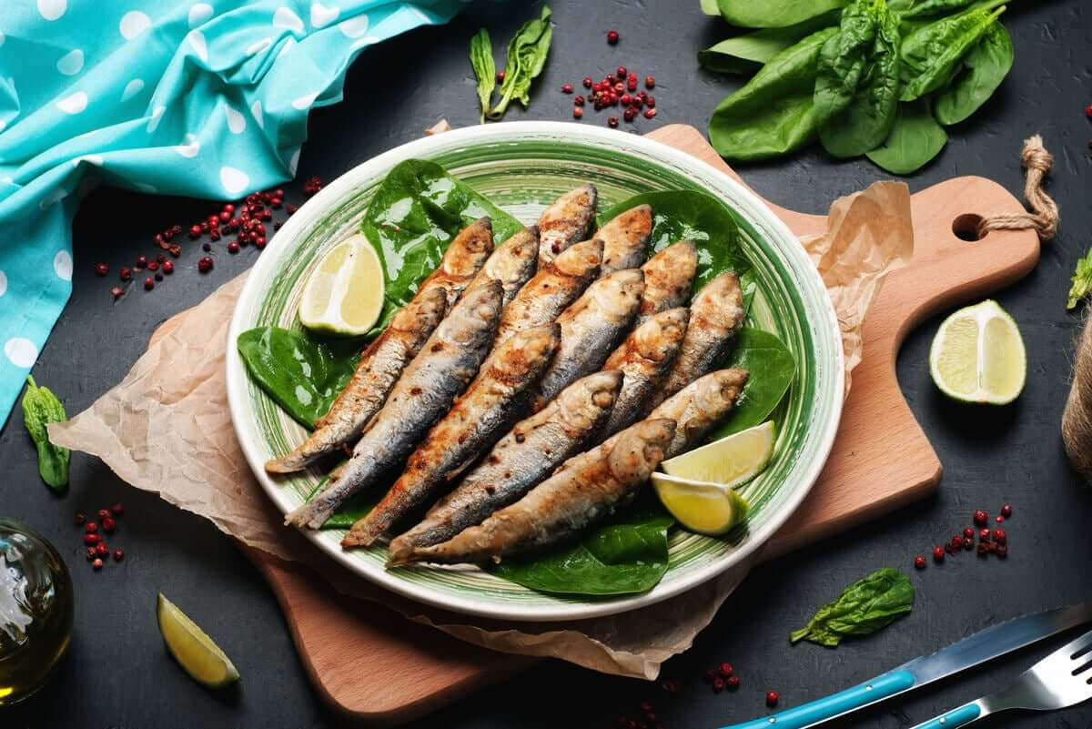 Sardines on a plate.